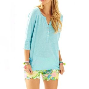 Lilly Pulitzer Mindy Breakwater Blue Linen Top